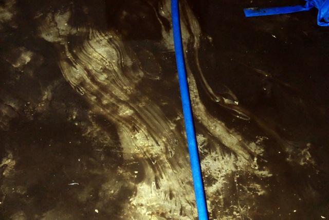 Nước vẫn đặc sệt, nhầy nhụa dầu thải khi rửa bể chung cư Hà Nội - 11
