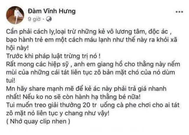 """Sở Thông tin truyền thông ý kiến việc facebook Đàm Vĩnh Hưng """"kêu gọi đánh người"""" - 1"""