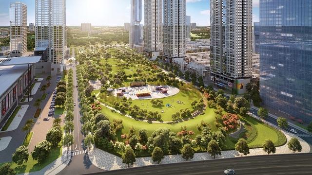 Phối cảnh công viên trung tâm dự án rộng 6,6 ha.