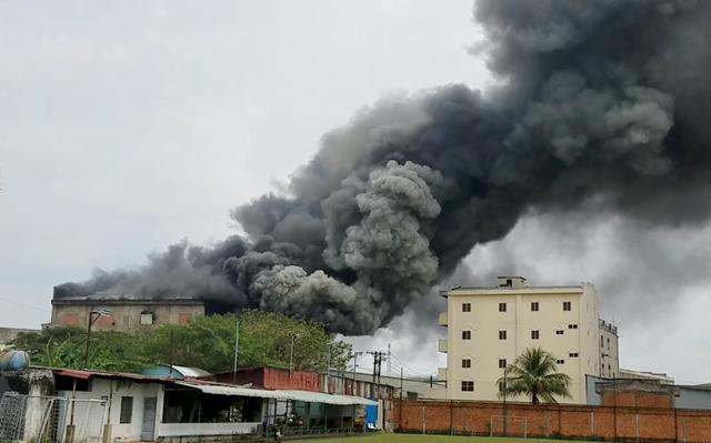 Đang cháy lớn xưởng mút xốp ven TPHCM - 1