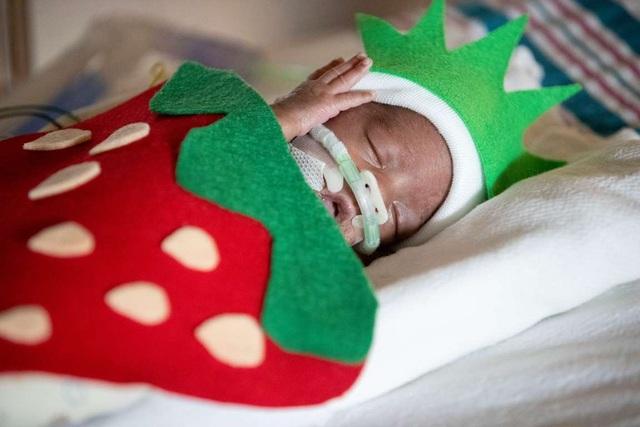 Dễ thương bé sơ sinh thiếu tháng diện đồ hóa trang đón Halloween trong bệnh viện - 1