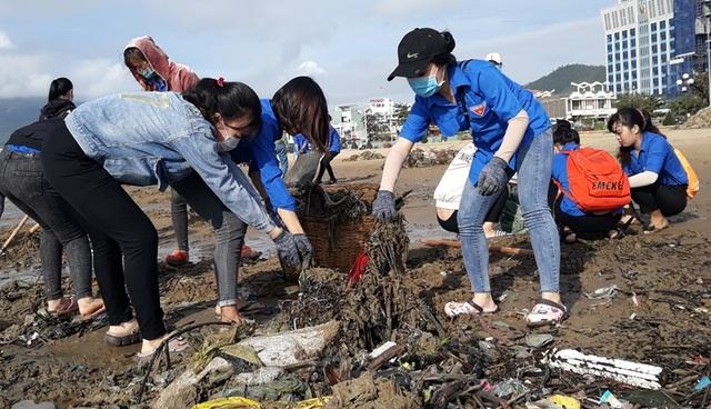 Biển Quy Nhơn ngập rác sau bão số 5, thanh niên xắn tay thu dọn  - 4