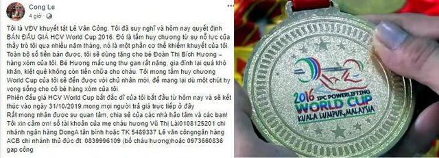 Bán HCV World Cup giá 125 triệu đồng, VĐV Lê Văn Công sẽ tặng hết cho nữ sinh mang trọng bệnh - 2