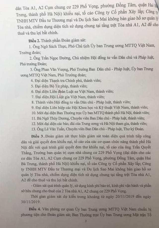 Uỷ ban Trung ương MTTQ Việt Nam giám sát vụ cư dân chung cư 229 phố Vọng kêu cứu - 2