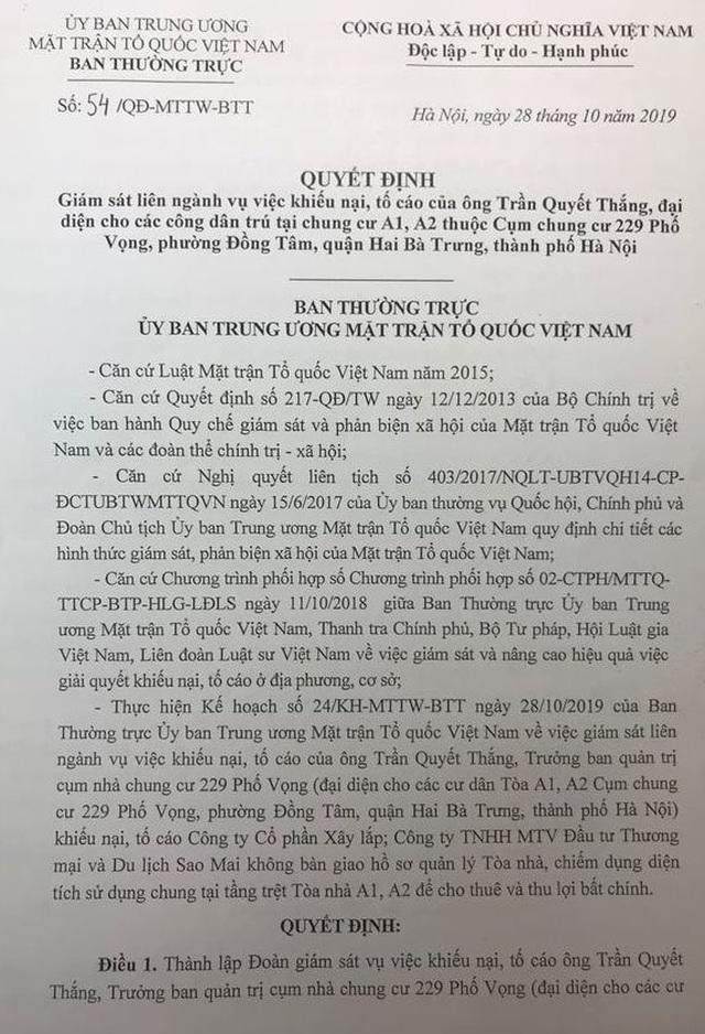Uỷ ban Trung ương MTTQ Việt Nam giám sát vụ cư dân chung cư 229 phố Vọng kêu cứu - 1