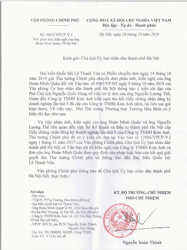 Phó Thủ tướng một lần nữa kết luận vụ tranh chấp tại Công ty TNHH Kim Anh - 1