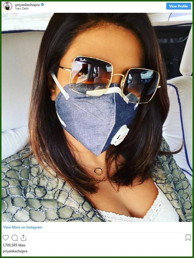 Hoa hậu Thế giới Priyanka Chopra đeo khẩu trang trên phim trường ở New Delhi - 1
