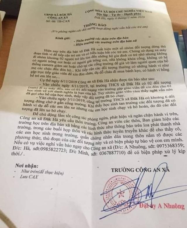 """Kon Tum: Xác minh thông tin cảnh báo tình trạng nghi vấn """"bắt cóc trẻ em"""" - 1"""