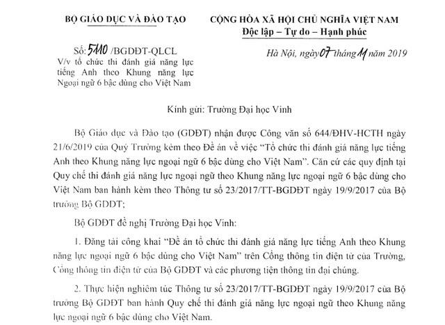 Trường ĐH Vinh tiếp tục được tổ chức thi đánh giá năng lực tiếng Anh 6 bậc dành cho Việt Nam - 1