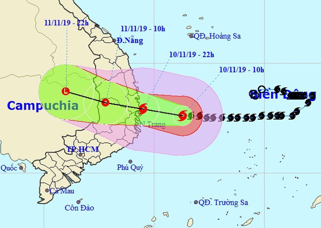 Đêm nay bão số 6 vào bờ biển các tỉnh Bình Định - Khánh Hòa - 1