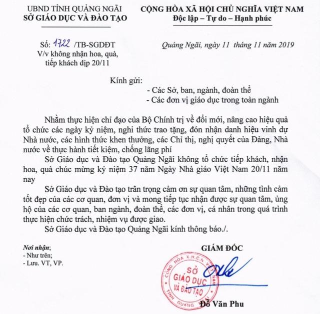 Quảng Ngãi: Sở Giáo dục không nhận quà dịp 20/11 - 1