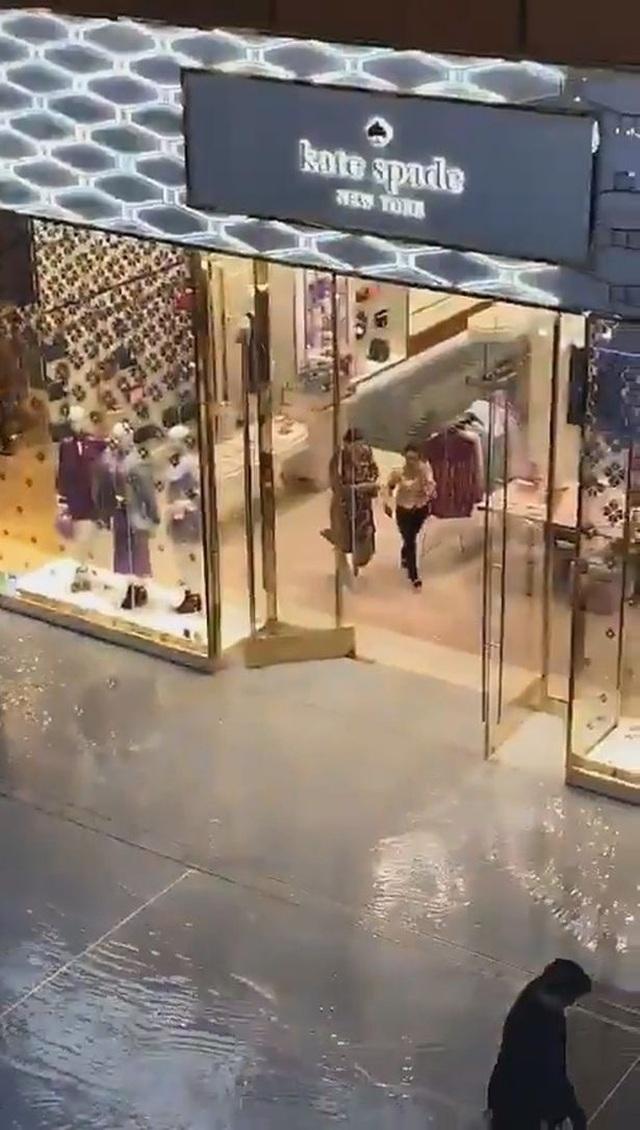 Dòng nước lũ chảy tràn qua trung tâm mua sắm của Dubai