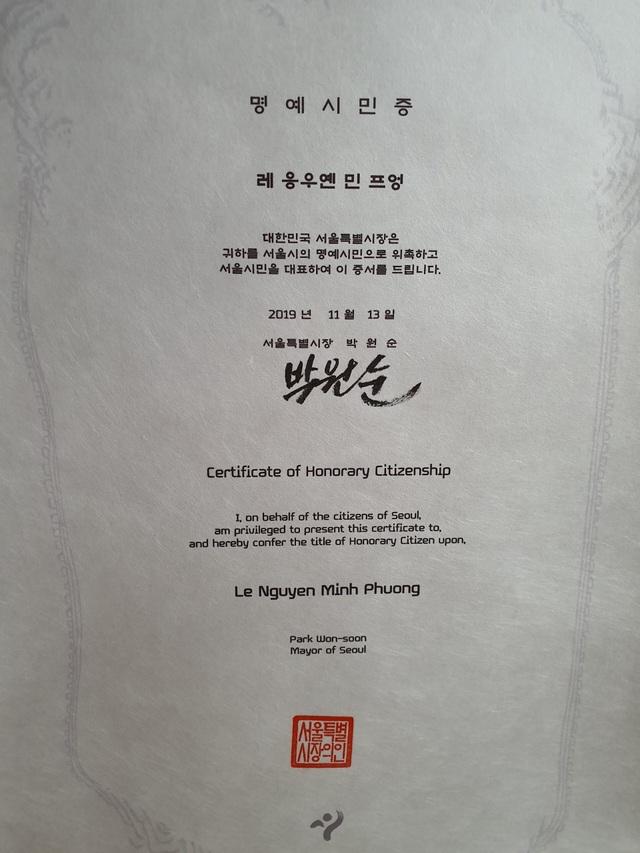 """Cô gái Việt Nam đầu tiên được vinh danh """"Công dân danh dự Seoul"""" - 2"""