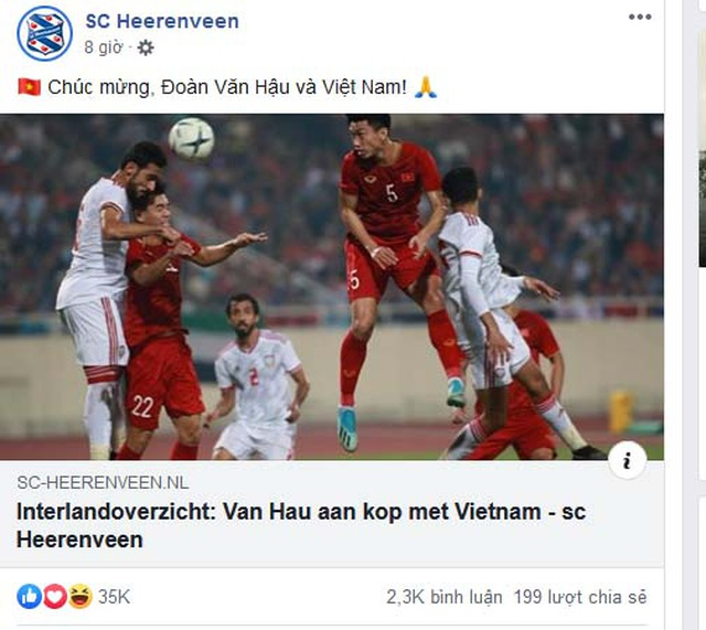 Heerenveen chúc mừng Văn Hậu và đội tuyển Việt Nam sau chiến thắng chấn động châu Á - 1