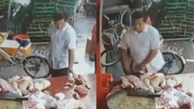 Khó tin: Người dân Trung Quốc ăn cắp cả thịt lợn khi đi chợ - 1