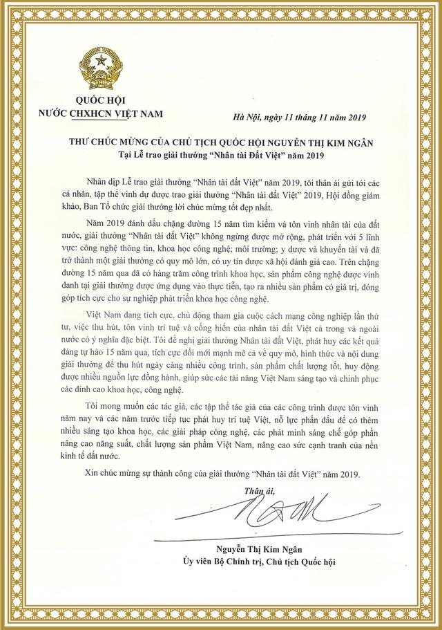 """Chủ tịch Quốc hội gửi thư chúc mừng Giải thưởng """"Nhân tài đất Việt"""" - 1"""