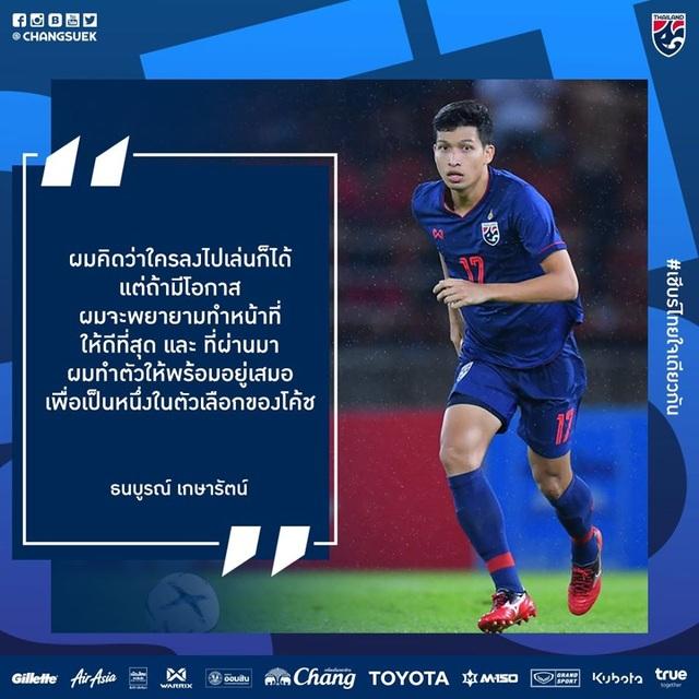 """Tiền vệ tuyển Thái Lan: """"Chúng tôi đã sẵn sàng 100%"""""""