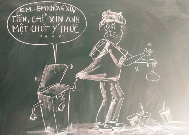 """Chia sẻ của thầy giáo 8X gây """"bão mạng"""" từ tranh vẽ bằng phấn trắng trên bảng đen - 4"""
