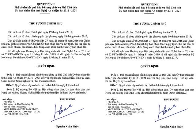 Thủ tướng phê chuẩn bầu bổ sung hai Phó Chủ tịch UBND tỉnh Nghệ An - 1