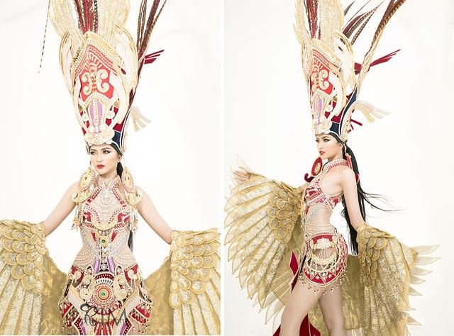 Ngọc Châu mang trang phục dân tộc vô cùng gợi cảm đến Hoa hậu Siêu quốc gia - 2