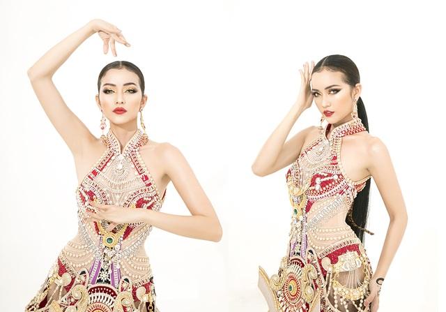 Ngọc Châu mang trang phục dân tộc vô cùng gợi cảm đến Hoa hậu Siêu quốc gia - 6