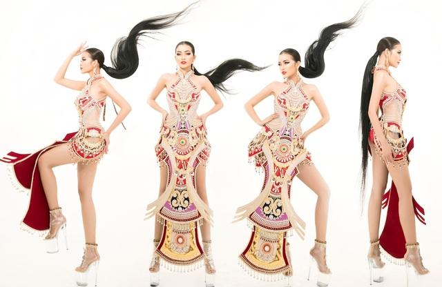 Ngọc Châu mang trang phục dân tộc vô cùng gợi cảm đến Hoa hậu Siêu quốc gia - 7