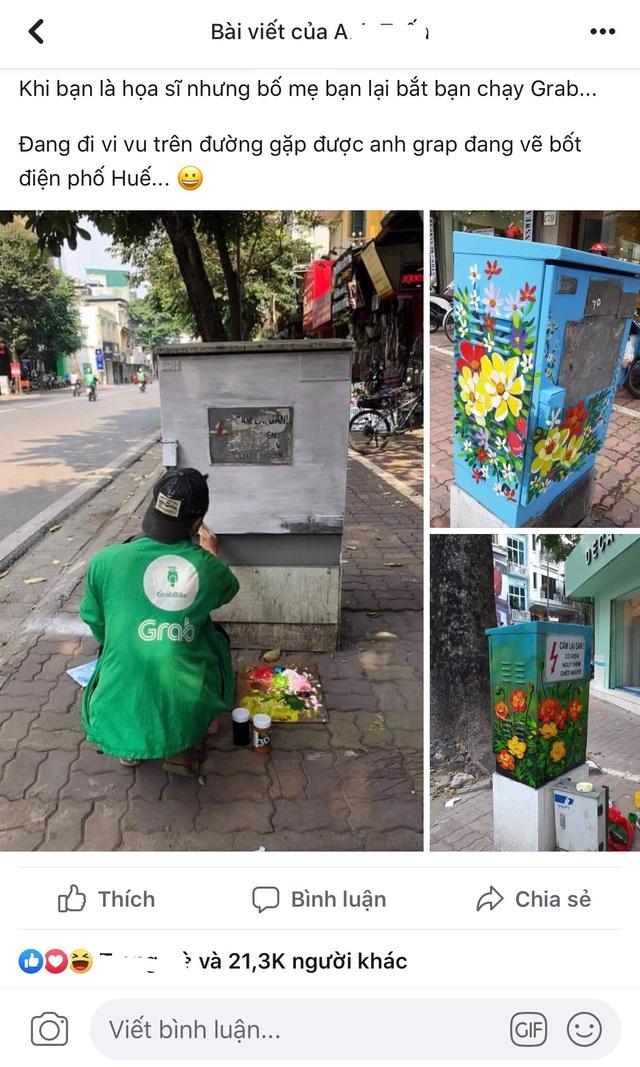 Sự thật đằng sau bức ảnh tài xế công nghệ ngồi vẽ tranh giữa đường phố Hà Nội - 1