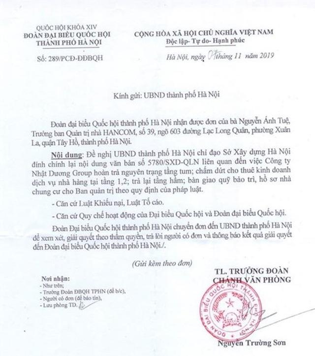 Đoàn ĐBQH TP Hà Nội đề nghị giải quyết yêu cầu đính chính 1 văn bản của Sở Xây dựng - 1