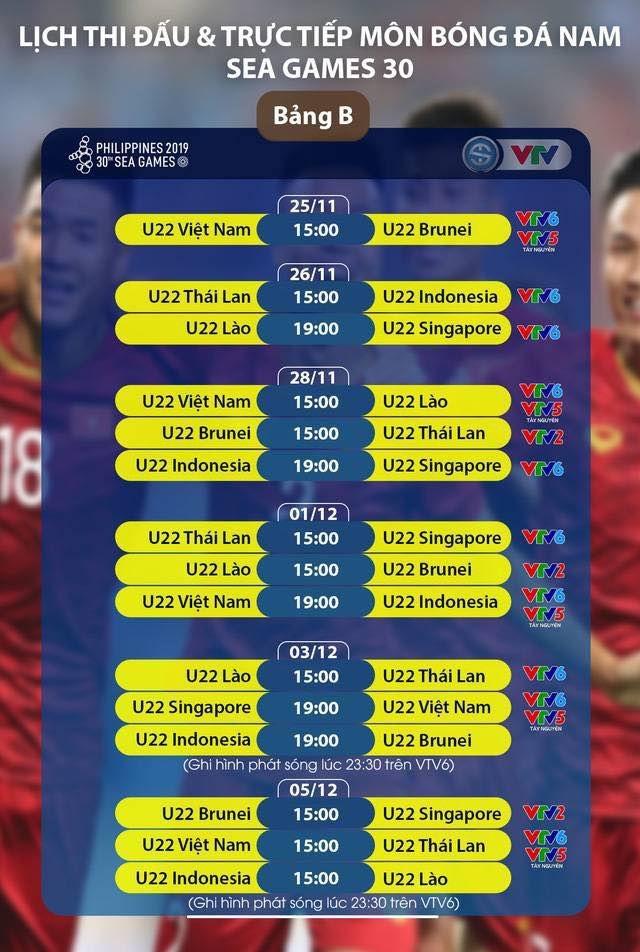Hướng dẫn xem trực tiếp các trận đấu của đội tuyển bóng đá U22 Việt Nam tại Sea Games 30 - 1