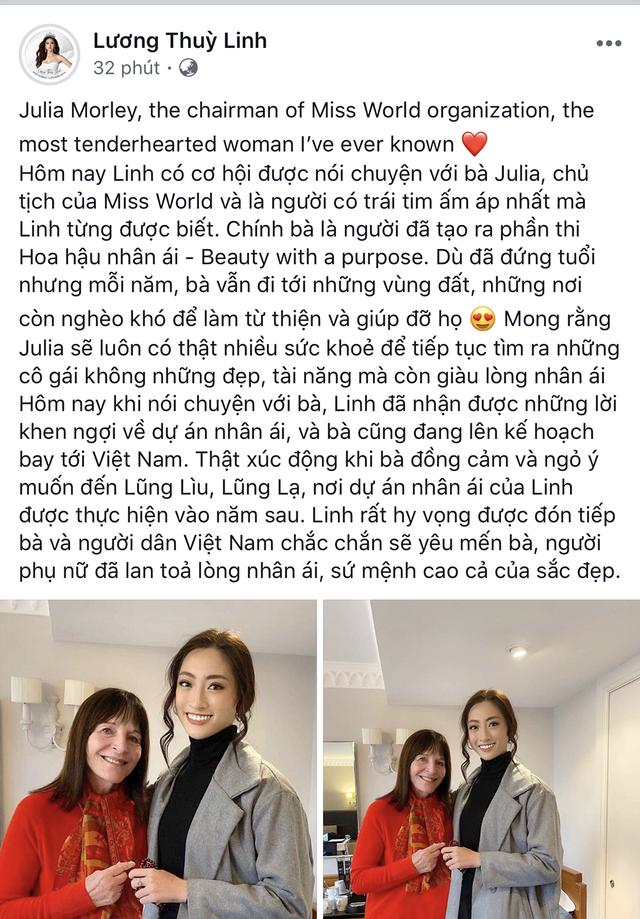 Chủ tịch Hoa hậu Thế giới ngợi khen dự án Nhân ái của Lương Thuỳ Linh - 2