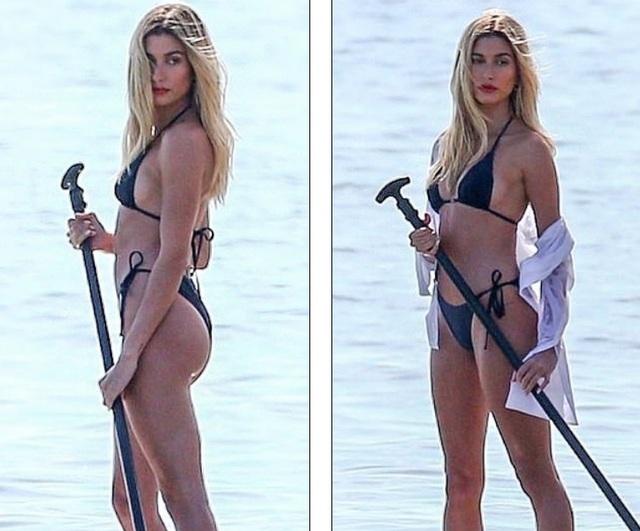 Vợ Justin Bieber diện áo tắm nuột nà trên biển - 5