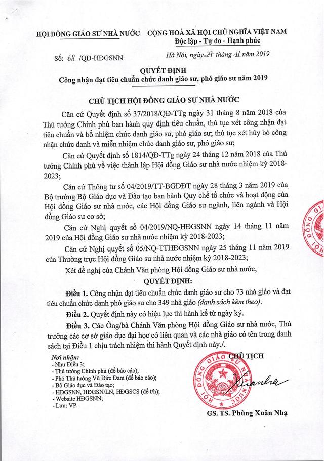 Năm 2019: Việt Nam có thêm 73 giáo sư và 349 phó giáo sư - 1