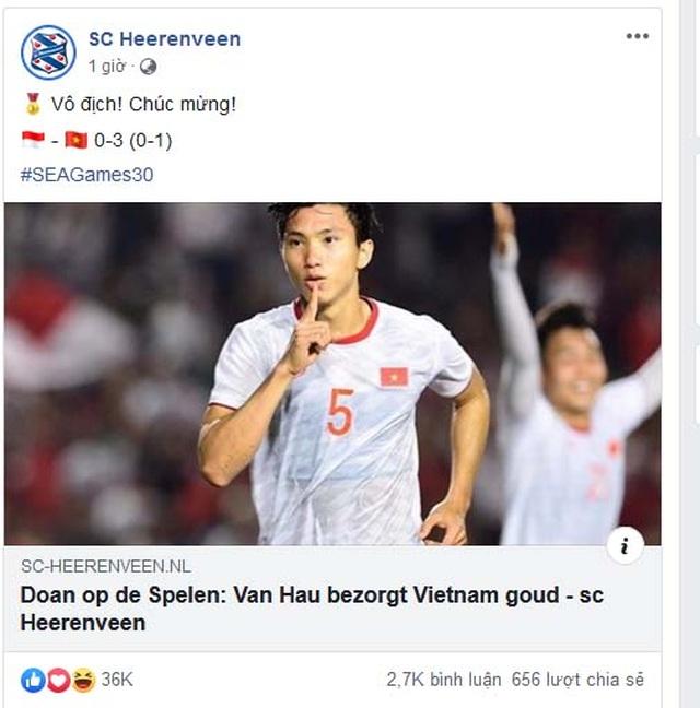 Heerenveen chúc mừng Văn Hậu và U22 Việt Nam giành HCV SEA Games 30 - 1