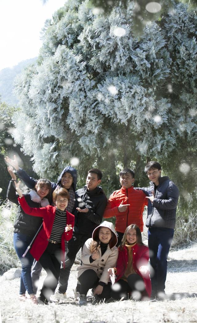 """Giới trẻ đổ xô về rừng bách xanh phủ tuyết trắng ở Ba Vì check-in """"sống ảo"""" - 5"""