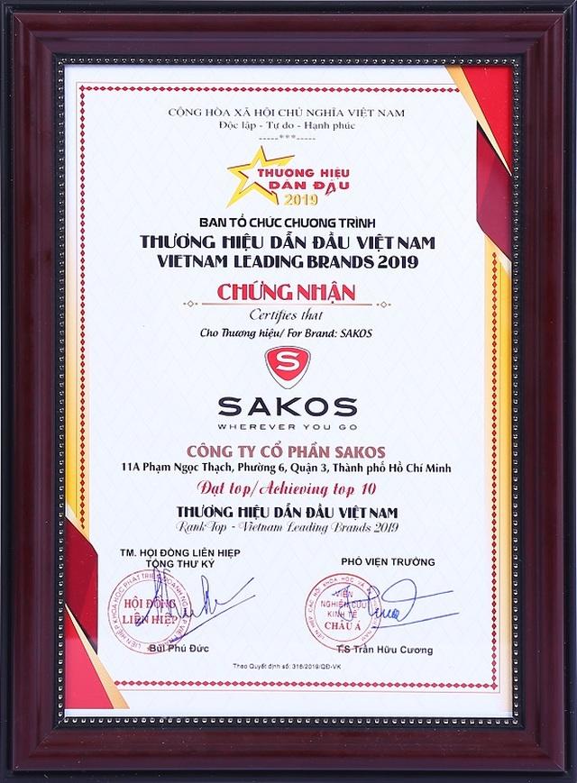 Sakos được vinh danh Top 10 thuơng hiệu dẫn đầu Việt Nam 2019 - 2