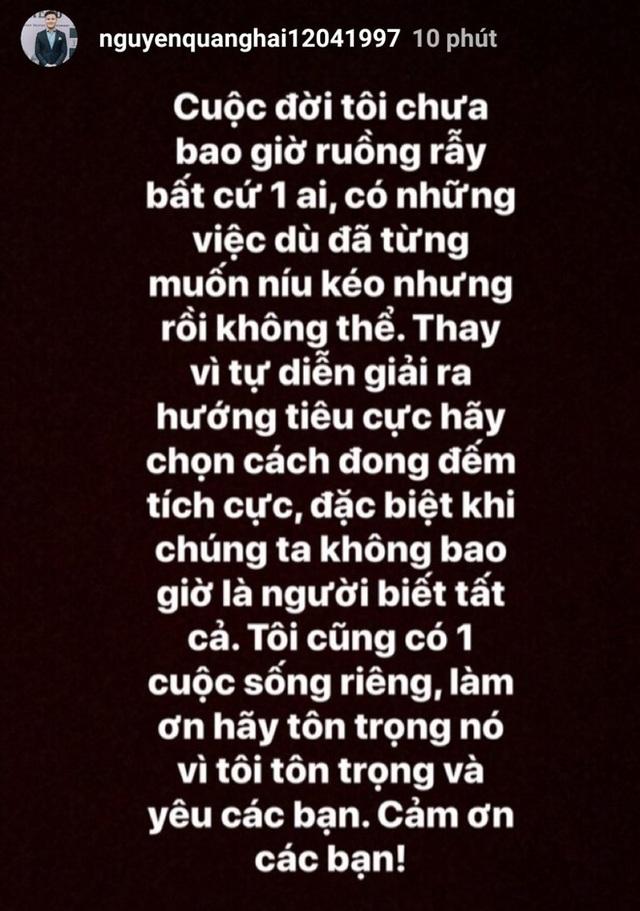 """Quang Hải khẳng định """"chưa bao giờ ruồng rẫy ai"""" sau ồn ào tình cảm - 1"""