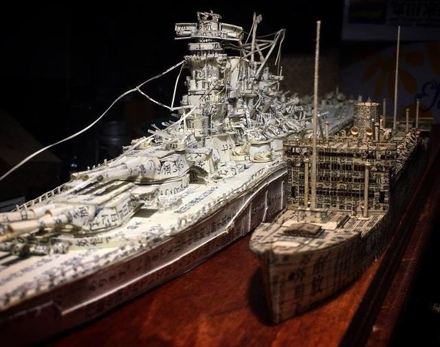 Ngắm cực phẩm tàu chiến đẹp đến từng chi tiết được làm từ giấy báo cũ - 1