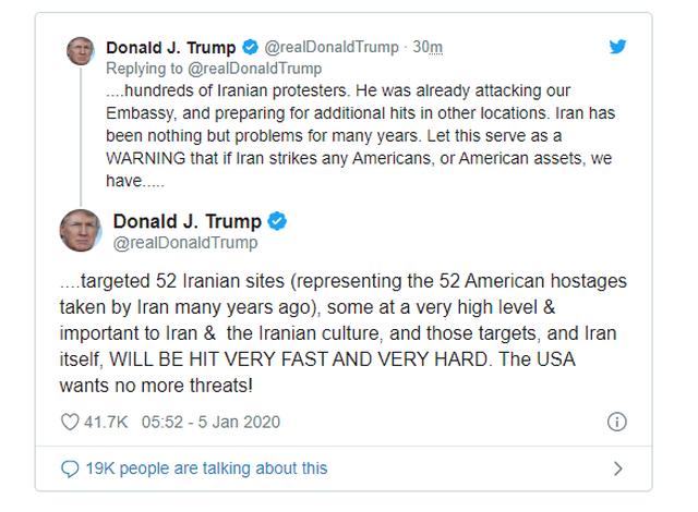 Ông Trump dọa tấn công 52 mục tiêu của Iran - 3