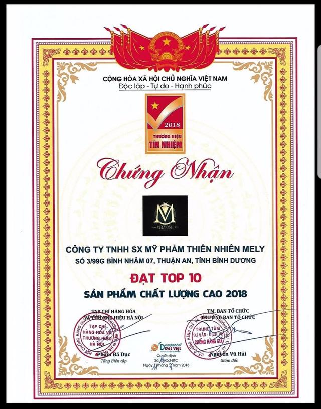 Mỹ phẩm Mely One vinh dự lọt top 10 thương hiệu hàng đầu Việt Nam 2019 - 3