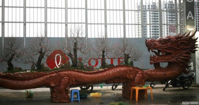Ngắm chậu đào khủng Long quyện ngũ hành sơn giá bạc tỷ trên phố Hà Nội - 1