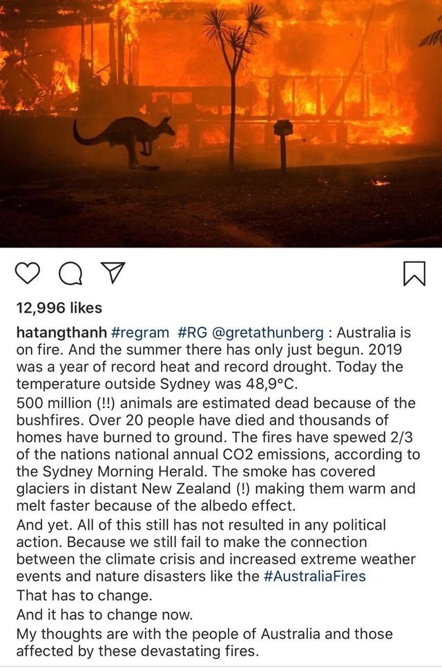 Ám ảnh đại thảm hoạ cháy rừng, dàn sao Việt nguyện cầu cho nước Úc - 1