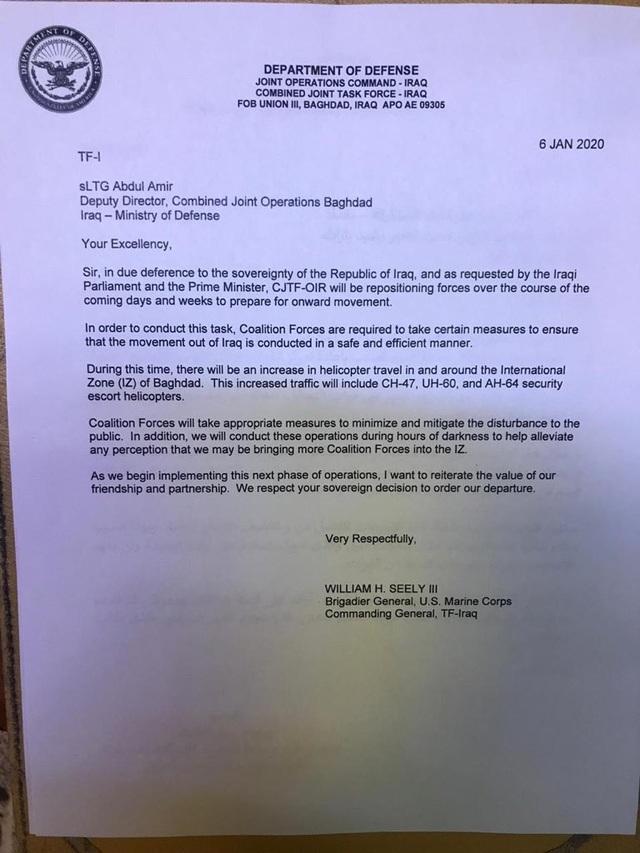 Mỹ gửi nhầm thư nháp thông báo rút quân sau khi dọa trừng phạt Iraq  - 2
