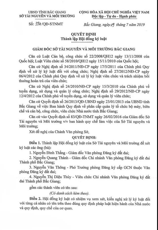 """Hài hước cách đánh giá cán bộ liên quan các vụ """"bê bối"""" tại Sở Tài nguyên Bắc Giang! - 1"""