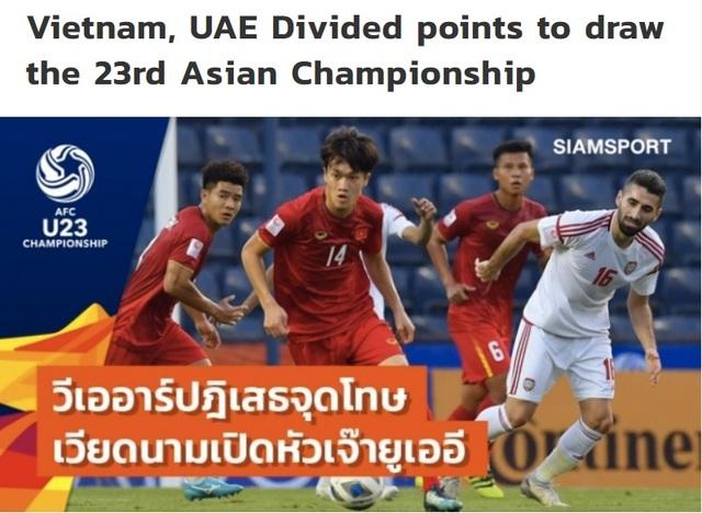 """Báo Thái Lan: """"U23 Việt Nam may mắn thoát thua U23 UAE"""" - 1"""