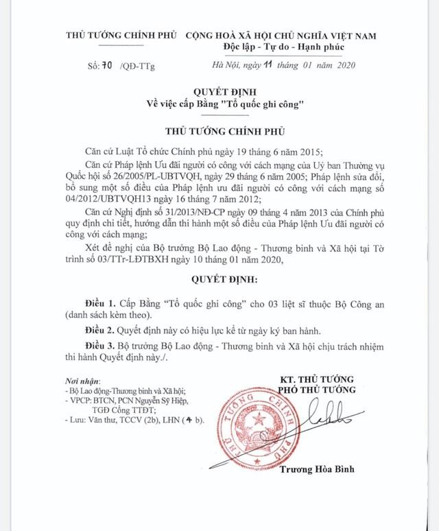Cấp Bằng Tổ quốc ghi công đối với 3 liệt sĩ hy sinh tại Đồng Tâm - 1
