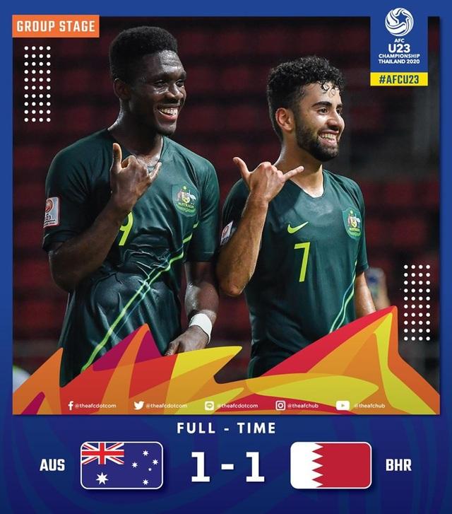 U23 Australia 1-1 U23 Bahrain: Đội bóng xứ chuột túi giành ngôi đầu bảng - 1