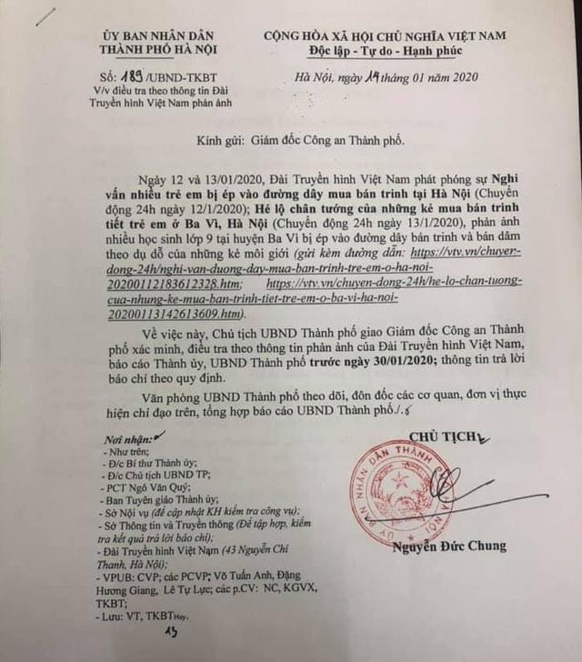 Giao Công an Hà Nội điều tra nghi án môi giới mua bán trinh tiết trẻ em ở Ba Vì - 1