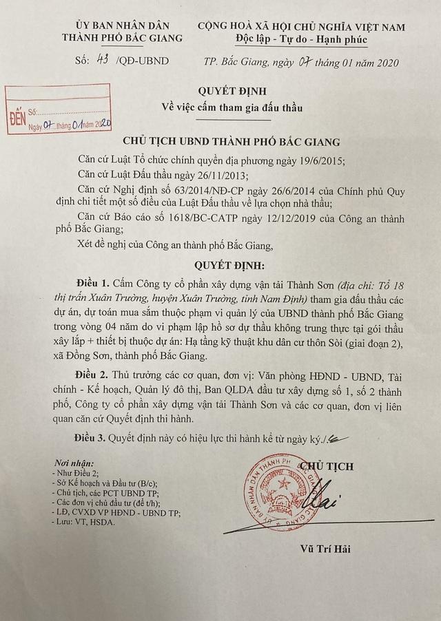 Phát hiện doanh nghiệp đấu thầu gian dối, Chủ tịch TP Bắc Giang thẳng tay cấm cửa! - 1