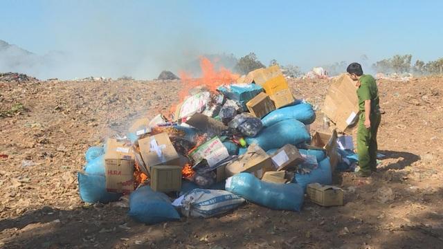 Tiêu hủy hơn 5000 sản phẩm các loại và trên 840 gói cà phê bột không rõ nguồn gốc - 1
