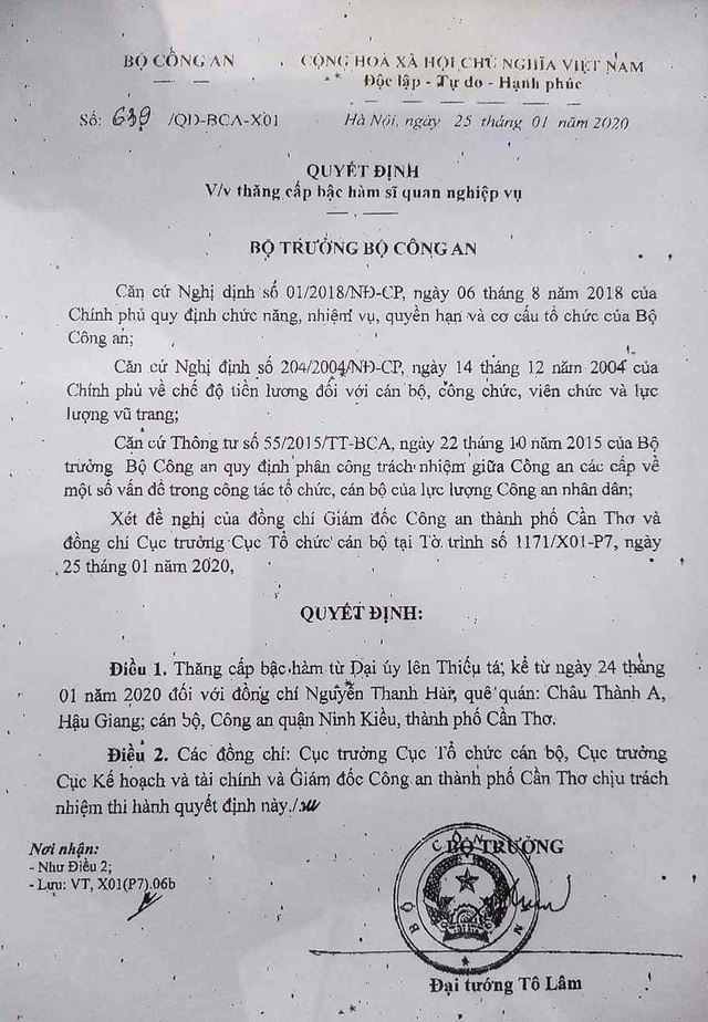 Thăng quân hàm cho Đại úy công an bị đâm chết trong ngày 30 Tết - 1